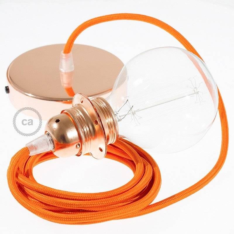 Lampe suspension pour Abat-jour câble textile Effet Soie Orange RM15
