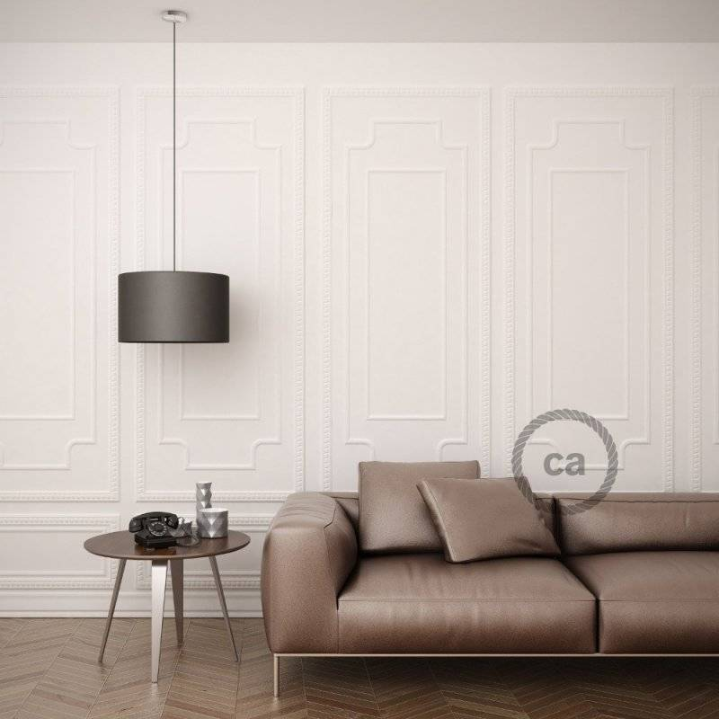Lampe suspension pour Abat-jour câble textile Effet Soie Jaune RM10