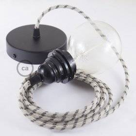 Lampe suspension pour Abat-jour câble textile Stripes Anthracite RD54