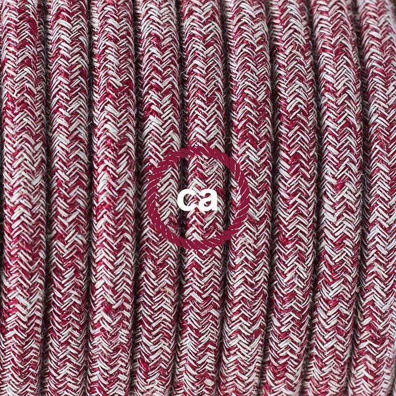 Lampe suspension pour Abat-jour câble textile Paillettes et Lin Naturel Rouge RS83