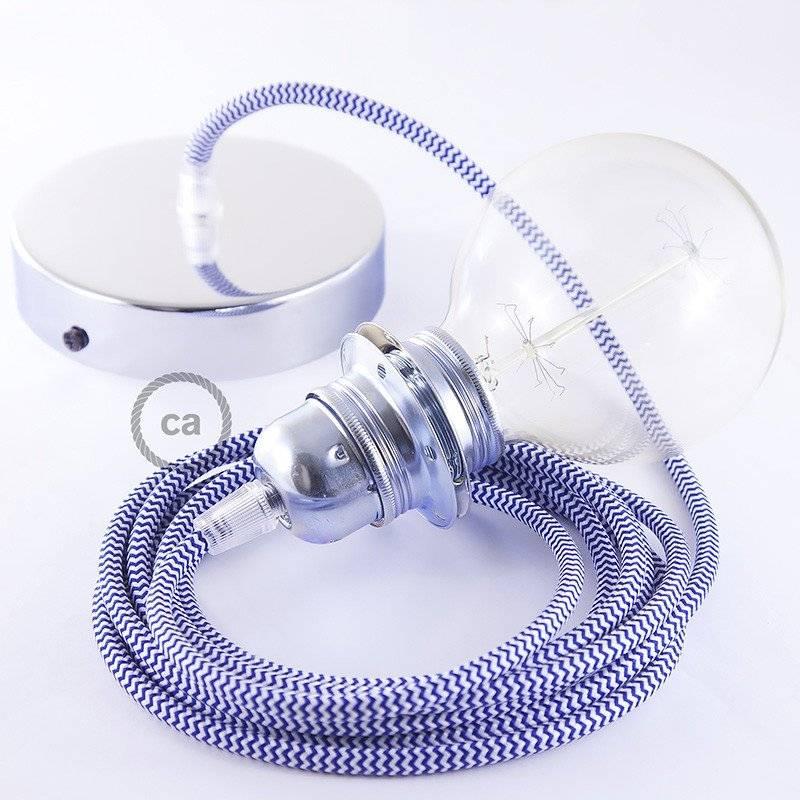 Lampe suspension pour Abat-jour câble textile ZigZag Bleu RZ12