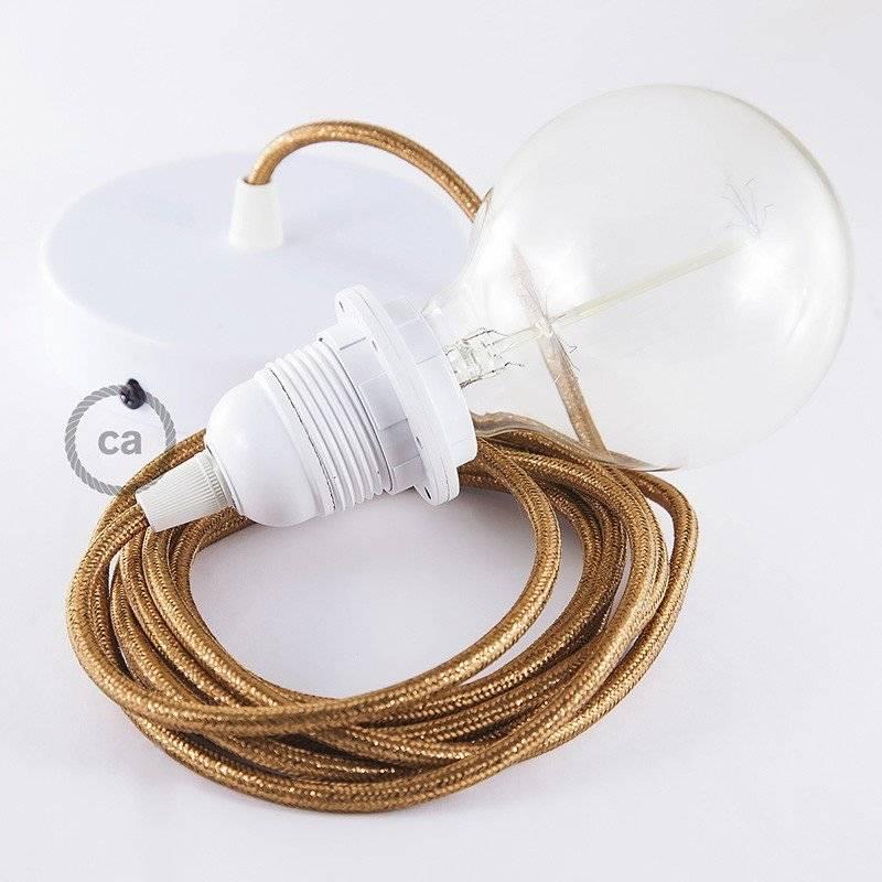 lampe suspension pour abat jour c ble textile paillettes cuivre rl22. Black Bedroom Furniture Sets. Home Design Ideas