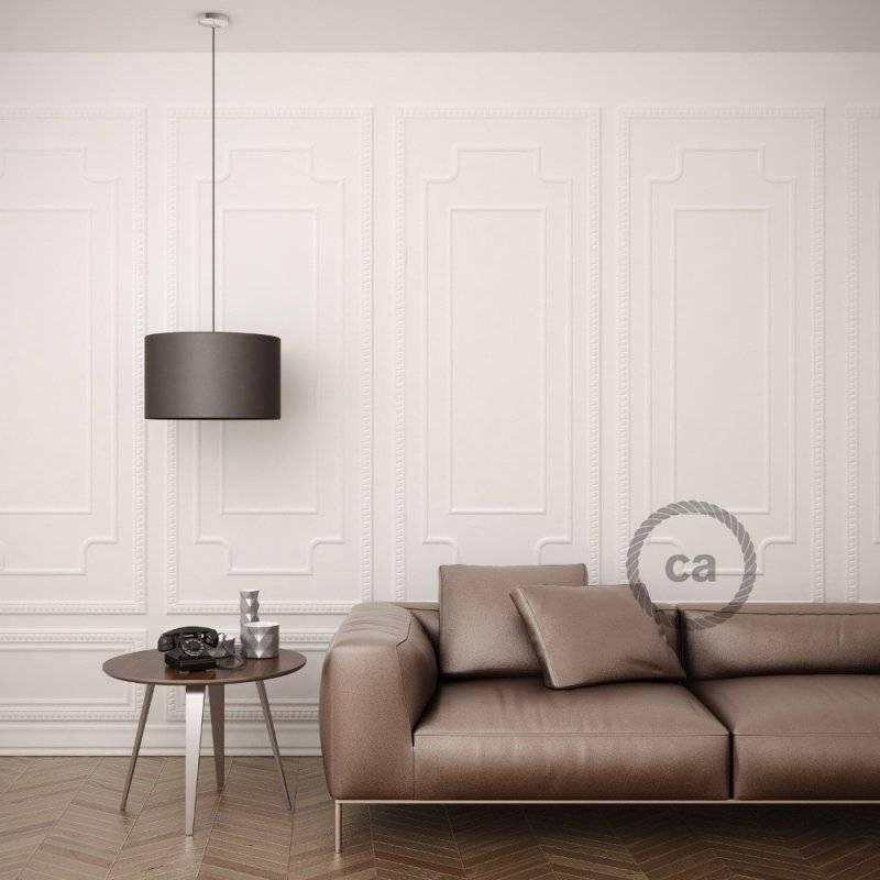 Lampe suspension pour Abat-jour câble textile Effet Soie Argent TM02