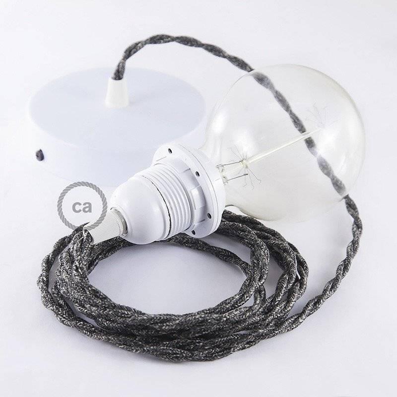 Lampe suspension pour Abat-jour câble textile Lin Naturel Anthracite TN03