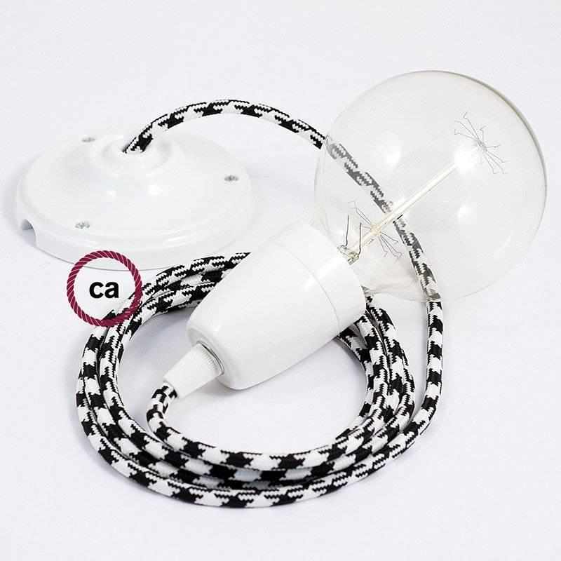 Lampe suspension en porcelaine câble textile Bicolore Noir RP04
