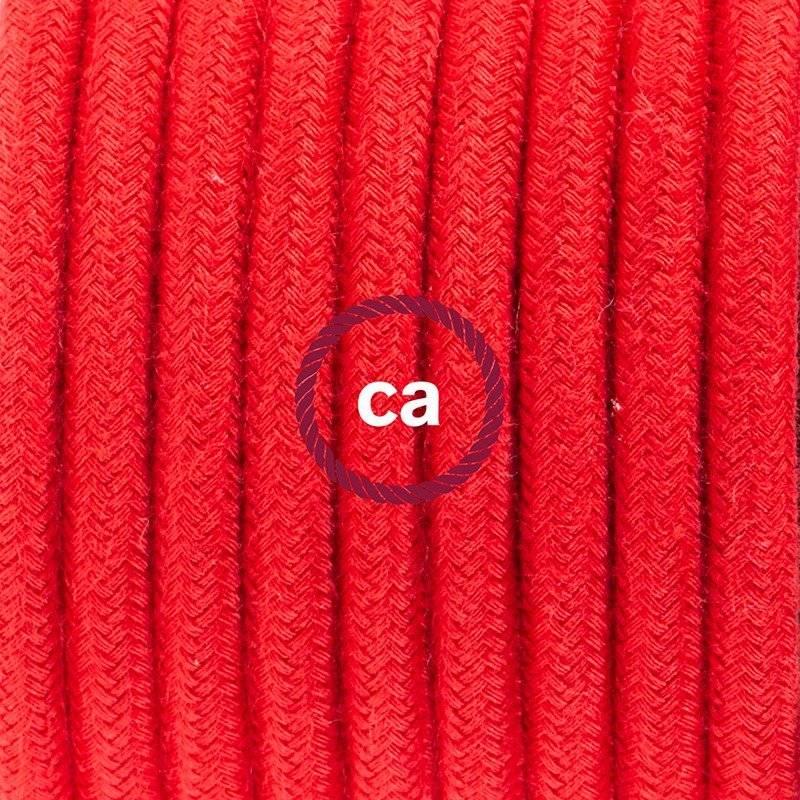 Lampe suspension câble textile Coton Rouge Feu RC35