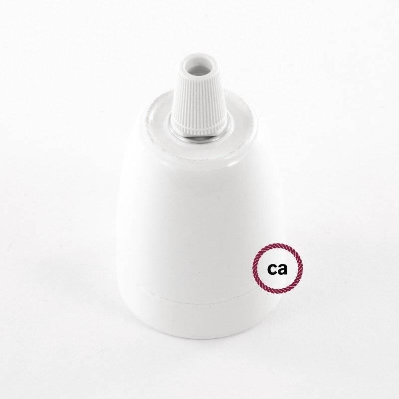 Lampe suspension en porcelaine câble textile Effet Soie Moutarde RM25