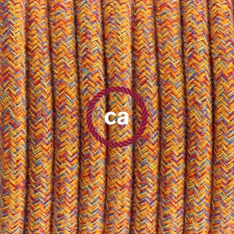 Lampe suspension pour Abat-jour câble textile Coton Indian Summer RX07
