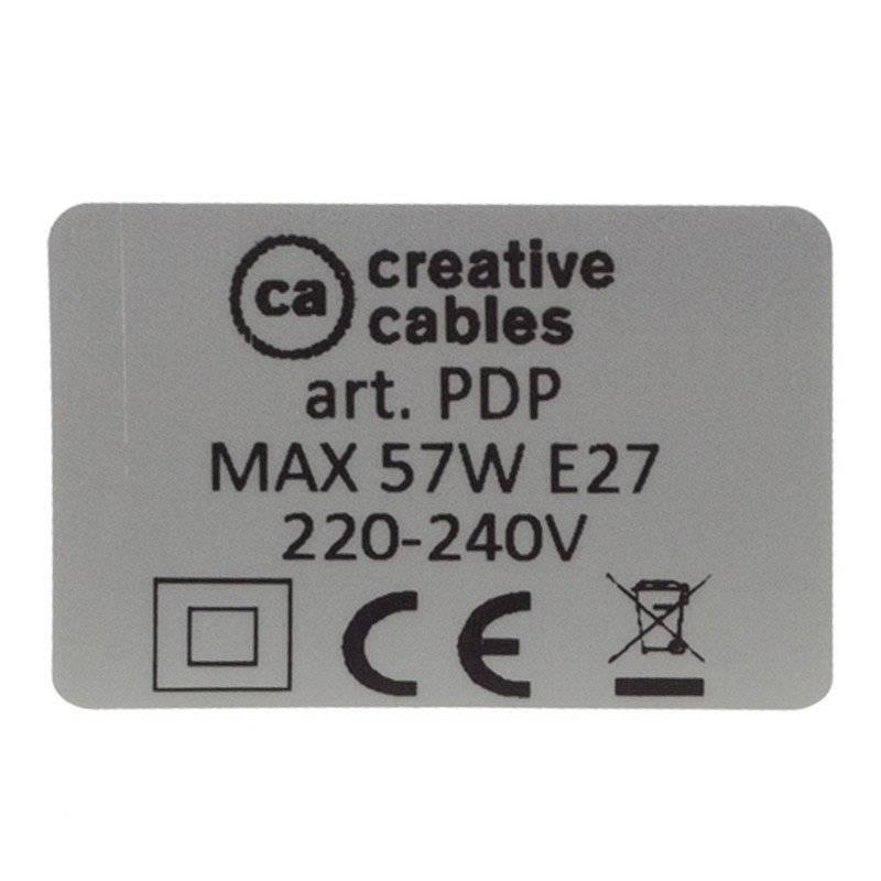 Lampe suspension en porcelaine câble textile Coton Noir RC04
