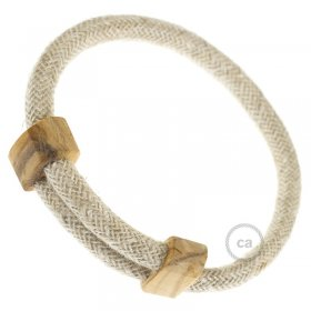 Creative-Bracelet en Lin Naturel Neutre RN01. Fermeture coulissante en bois. Made in Italy.