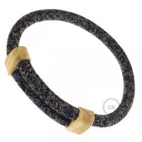 Creative-Bracelet en Lin Naturel Anthracite RN03. Fermeture coulissante en bois. Made in Italy.