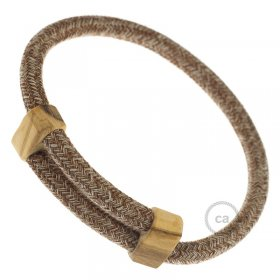 Creative-Bracelet en Coton et Lin naturel Tweed Rouille RS82. Fermeture coulissante en bois. Made in Italy.