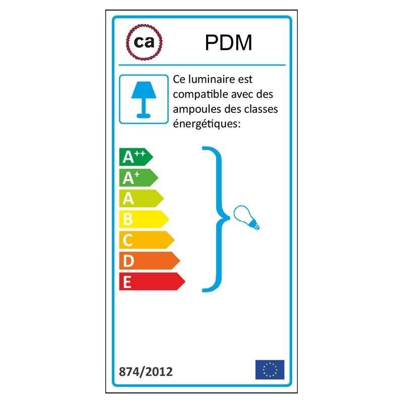 Lampe suspension câble textile Coton Gris Pierre RC30