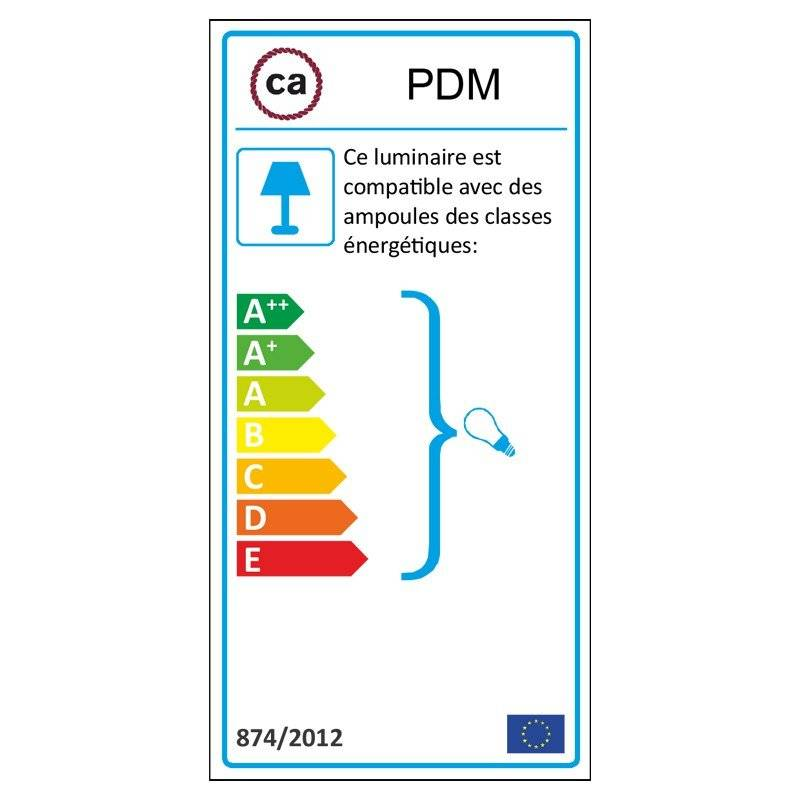 Lampe suspension pour Abat-jour câble textile Lin Naturel Marron RN04