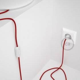 Cordon pour lampe, câble RC35 Coton Rouge Feu 1,80 m. Choisissez la couleur de la fiche et de l'interrupteur!