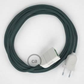 Rallonge électrique avec câble textile RC30 Coton Gris Pierre 2P 10A Made in Italy.