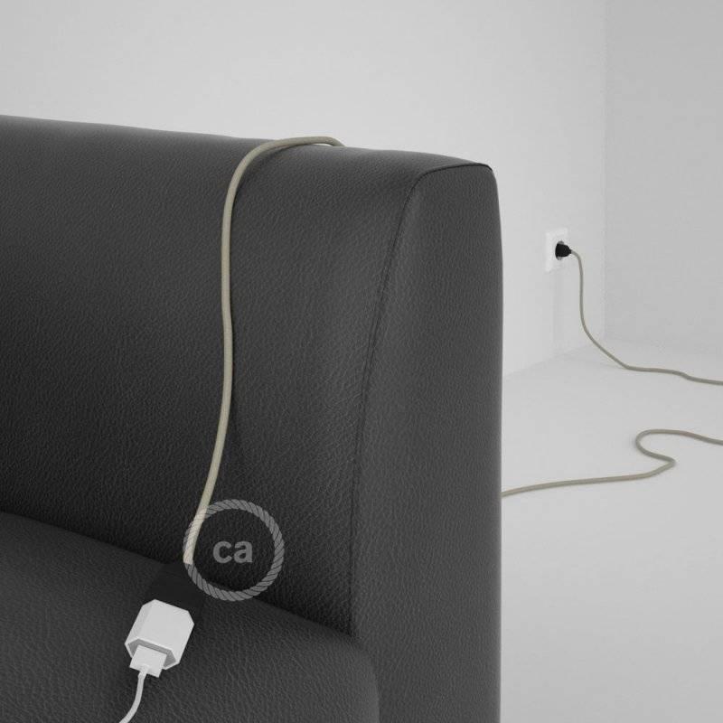 Rallonge électrique avec câble textile RC43 Coton Tourterelle 2P 10A Made in Italy.