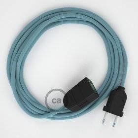 Rallonge électrique avec câble textile RC53 Coton Océan 2P 10A Made in Italy.