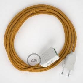 Rallonge électrique avec câble textile RM05 Effet Soie Doré 2P 10A Made in Italy.