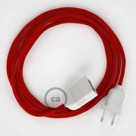 Rallonge électrique avec câble textile RM09 Effet Soie Rouge 2P 10A Made in Italy.