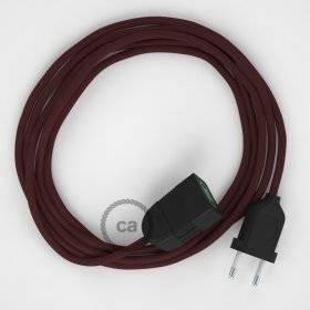 Rallonge électrique avec câble textile RM19 Effet Soie Bordeaux 2P 10A Made in Italy.