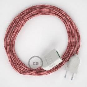 Rallonge électrique avec câble textile RZ09 Effet Soie ZigZag Blanc-Rouge 2P 10A Made in Italy.
