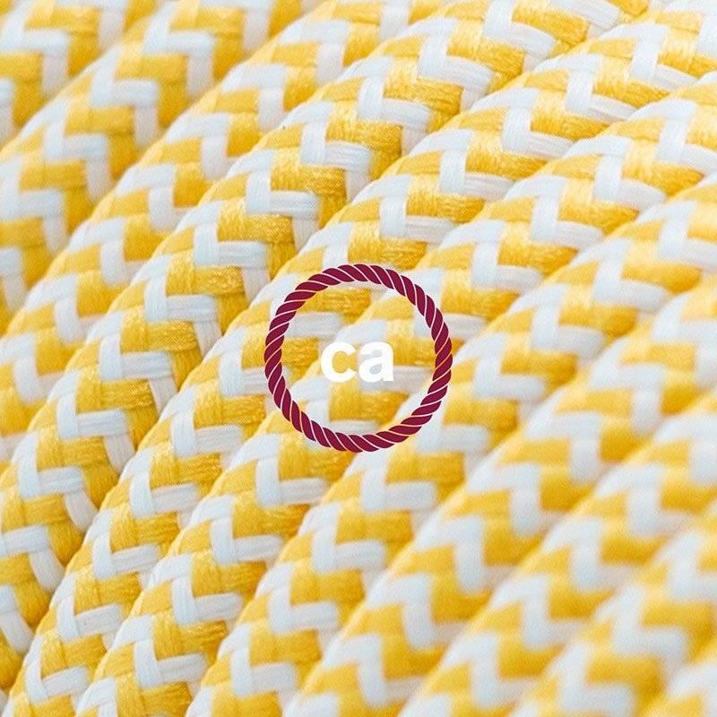 Rallonge électrique avec câble textile RZ10 Effet Soie ZigZag Blanc-Jaune 2P 10A Made in Italy.