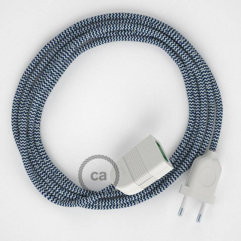 Rallonge électrique avec câble textile RZ12 Effet Soie ZigZag Blanc-Bleu 2P 10A Made in Italy.