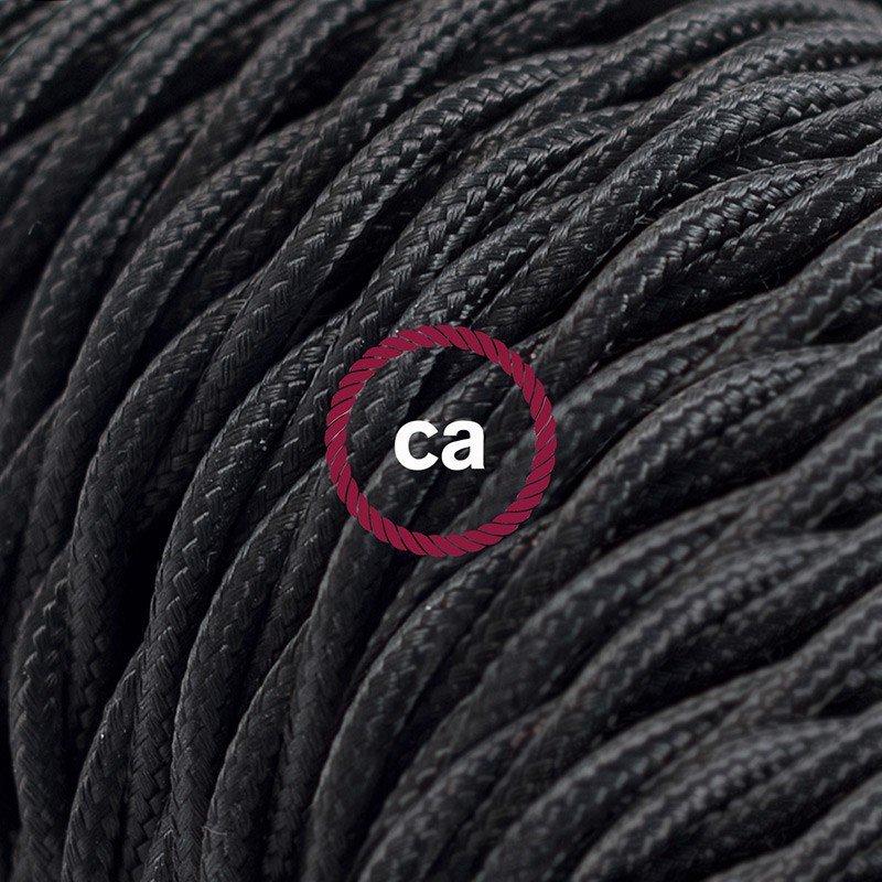 Rallonge électrique avec câble textile TM04 Effet Soie Noir 2P 10A Made in Italy.