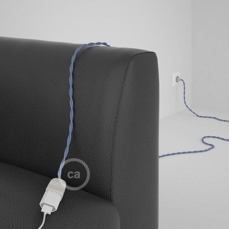 Rallonge électrique avec câble textile TM07 Effet Soie Lilas 2P 10A Made in Italy.