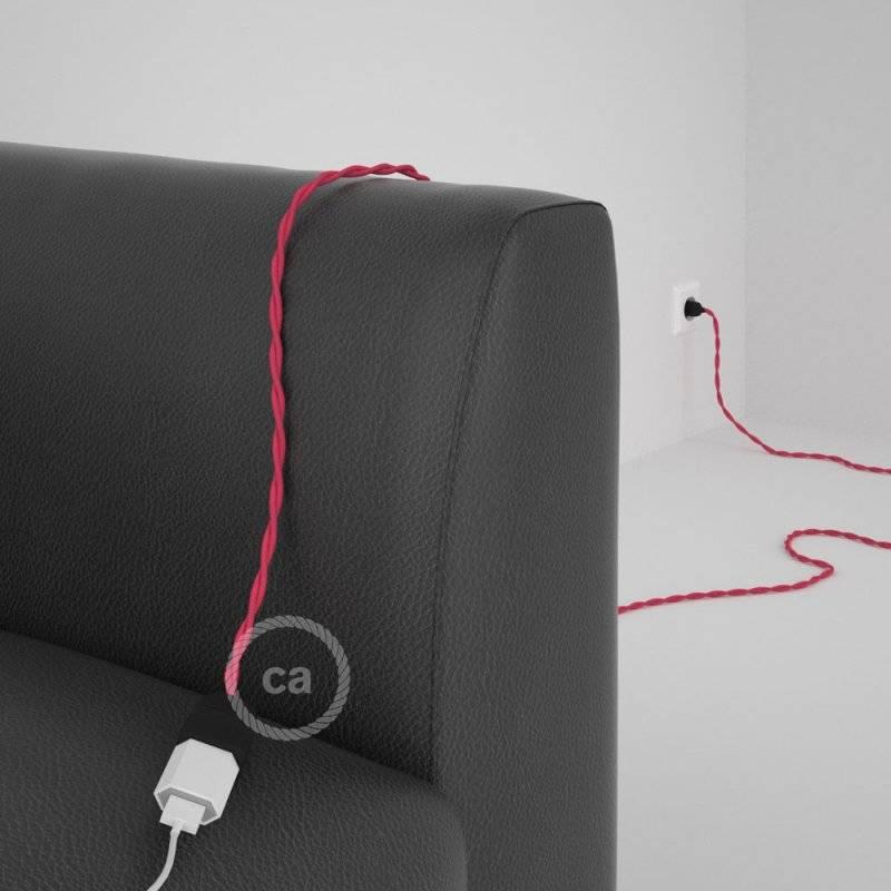 Rallonge électrique avec câble textile TM08 Effet Soie Fuchsia 2P 10A Made in Italy.