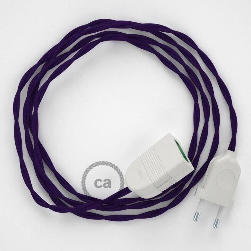 Rallonge électrique avec câble textile TM14 Effet Soie Violet 2P 10A Made in Italy.