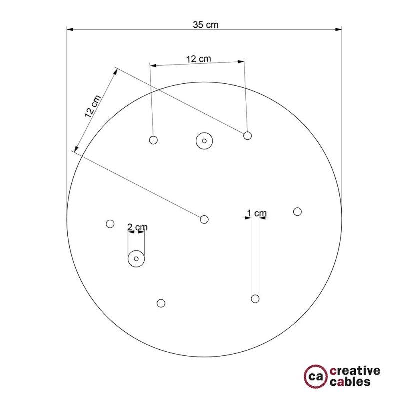 Rosace XXL ronde 35cm à 7 trous blanche avec les accessoires.