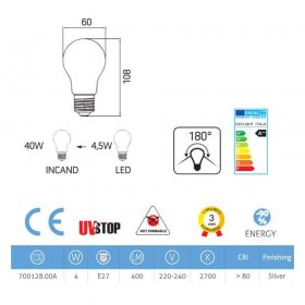 Ampoule LED demi-sphère argenté 4W E27 2700K