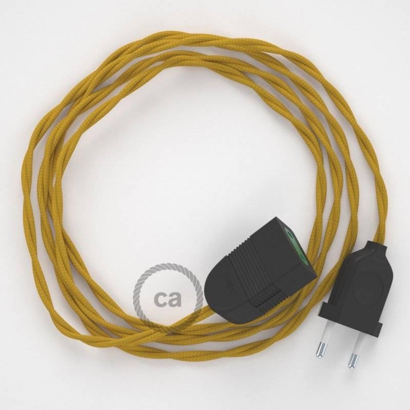 Rallonge électrique avec câble textile TM25 Effet Soie Moutarde 2P 10A Made in Italy.