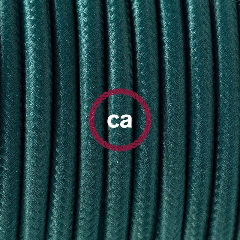 Lampe suspension pour Abat-jour câble textile Effet Soie Vert Foncé RM21