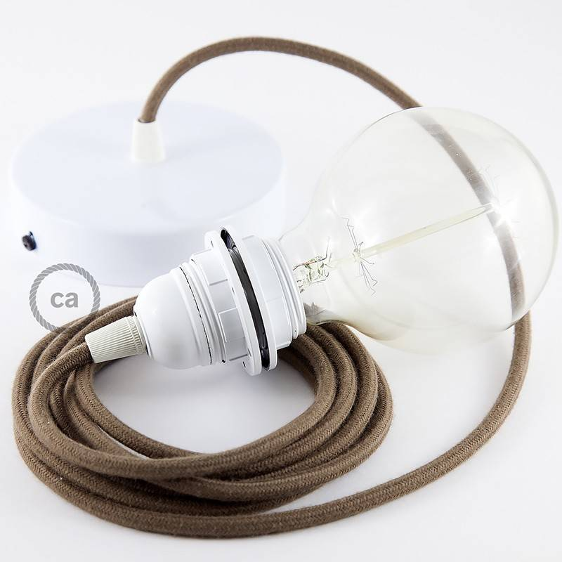 lampe suspension pour abat jour c ble textile coton marron rc13. Black Bedroom Furniture Sets. Home Design Ideas