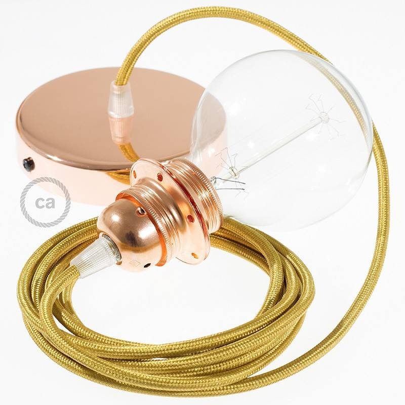 lampe suspension pour abat jour c ble textile effet soie or rm05. Black Bedroom Furniture Sets. Home Design Ideas