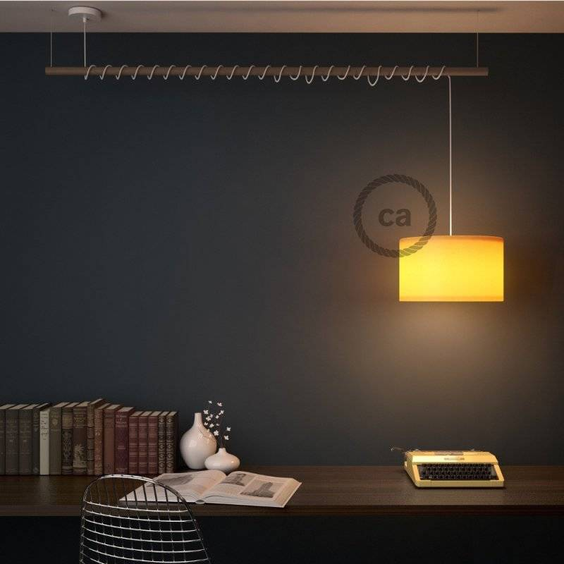 Lampe suspension pour Abat-jour câble textile ZigZag Lilas RZ07