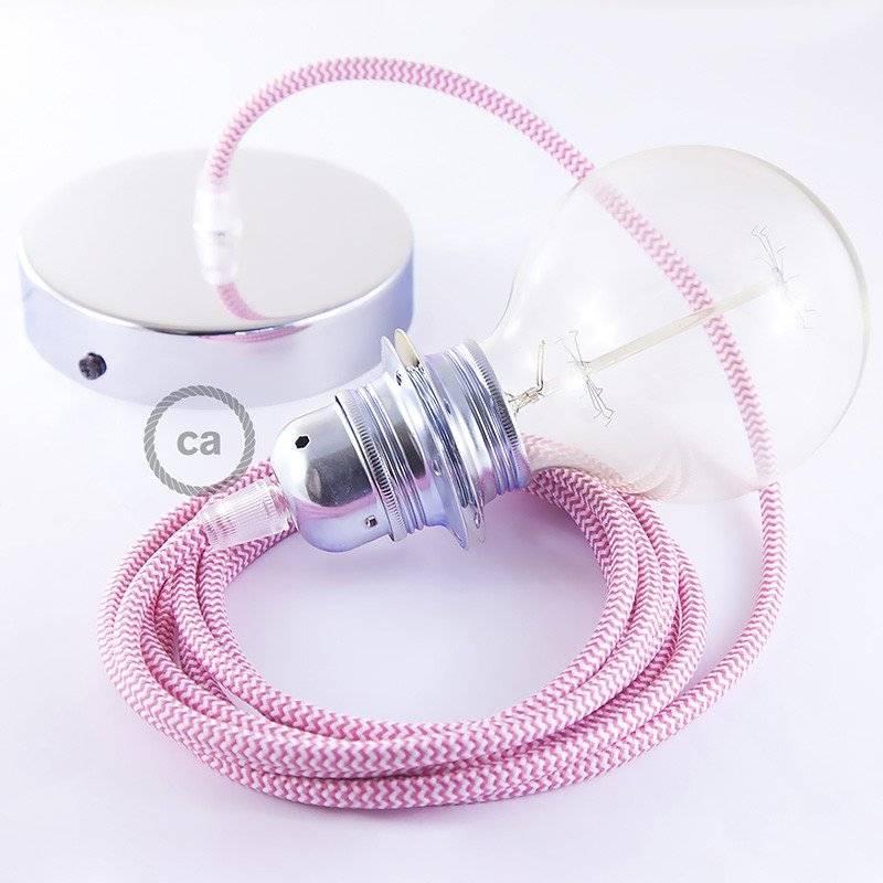 Lampe suspension pour Abat-jour câble textile ZigZag Fuchsia RZ08