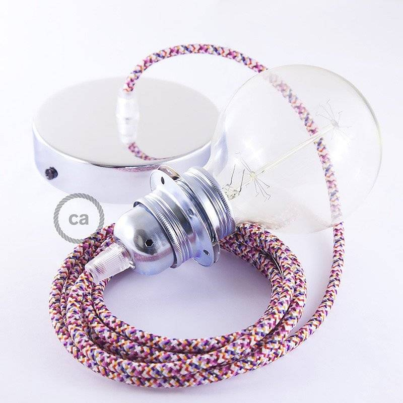 Lampe suspension pour Abat-jour câble textile Pixel Fuchsia RX00