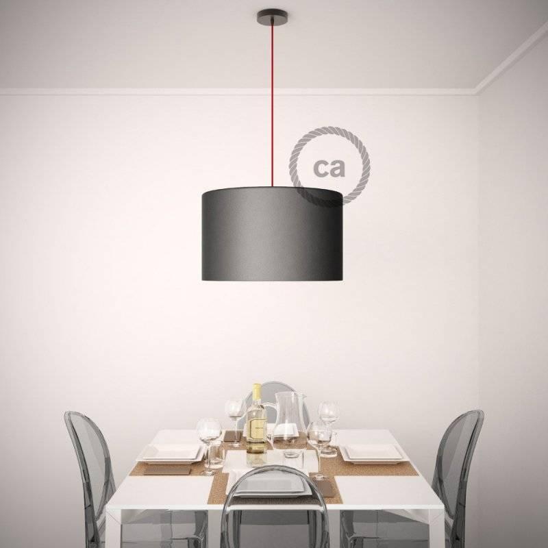Lampe suspension pour Abat-jour câble textile Effet Soie Noir TM04