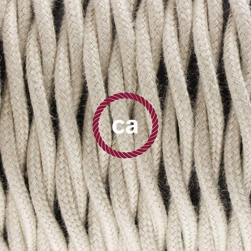 Lampe suspension pour Abat-jour câble textile Coton Tourterelle TC43