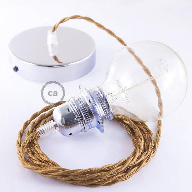 Lampe suspension pour Abat-jour câble textile Effet Soie Whiskey TM22