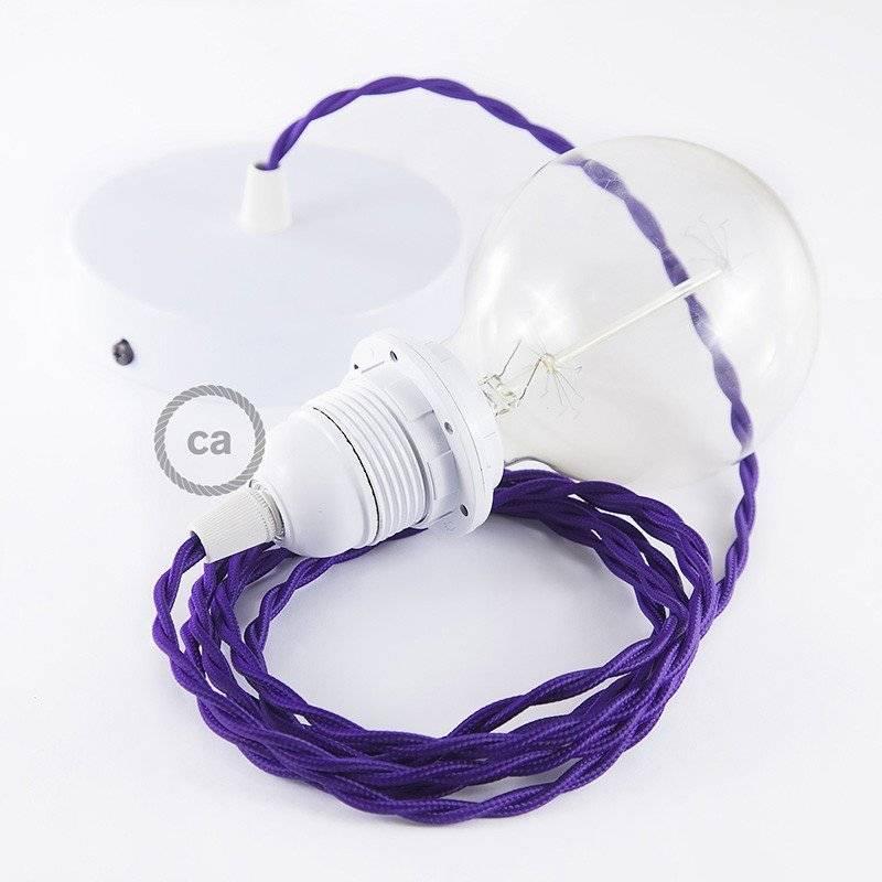 Lampe suspension pour Abat-jour câble textile Effet Soie Violet TM14