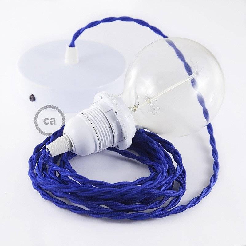 Lampe suspension pour Abat-jour câble textile Effet Soie Bleu TM12