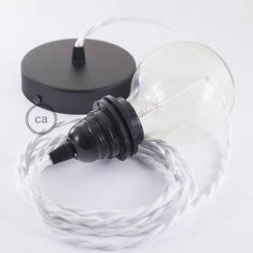 Lampe suspension pour Abat-jour câble textile Coton Blanc TC01
