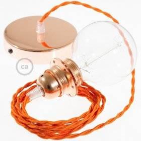 Lampe suspension pour Abat-jour câble textile Effet Soie Orange TM15