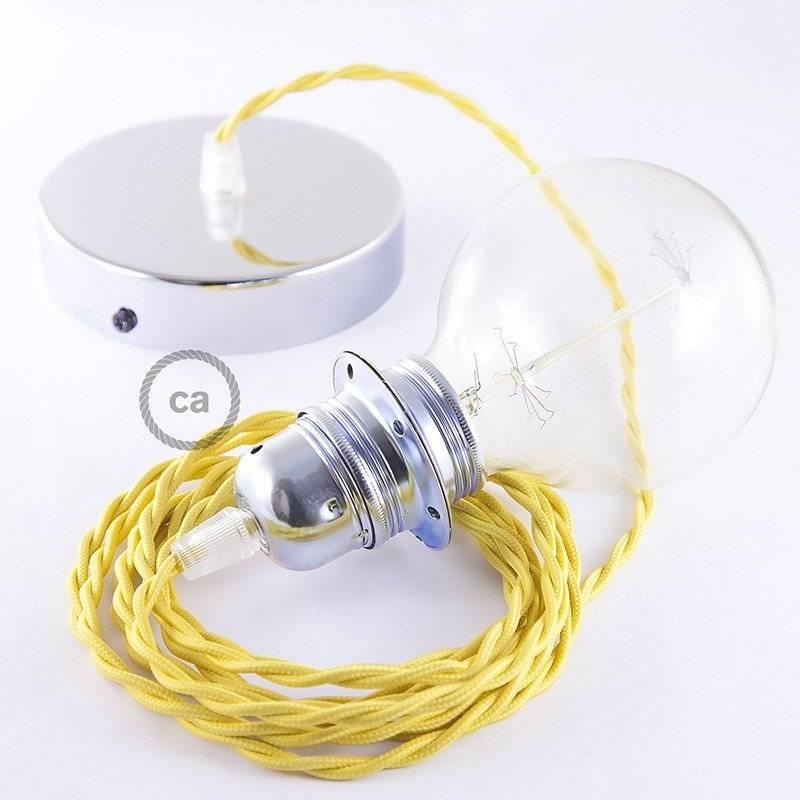 Lampe suspension pour Abat-jour câble textile Effet Soie Jaune TM10