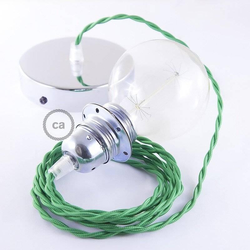 Lampe suspension pour Abat-jour câble textile Effet Soie Vert TM06